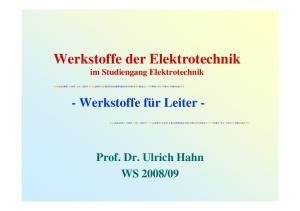 Werkstoffe der Elektrotechnik im Studiengang Elektrotechnik