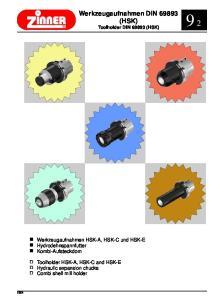 Werkzeugaufnahmen DIN (HSK) Toolholder DIN (HSK)