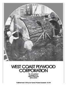 WEST COAST PLYWOOD CORPORATION
