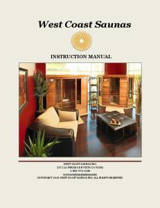 West Coast Saunas INSTRUCTION MANUAL