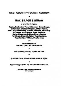 WEST COUNTRY FODDER AUCTION HAY, SILAGE & STRAW. on farms in the following areas: