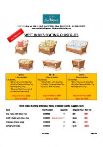 WEST INDIES SEATING CLOSEOUTS