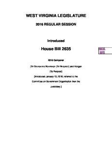 WEST VIRGINIA LEGISLATURE. House Bill 2635