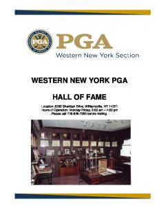 WESTERN NEW YORK PGA HALL OF FAME