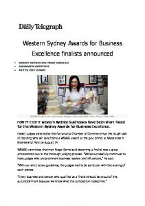 Western Sydney Awards for Business Excellence finalists announced