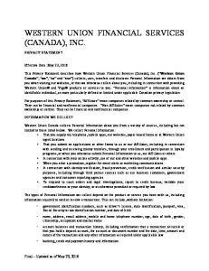 WESTERN UNION FINANCIAL SERVICES (CANADA), INC