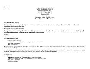 WESTERN UNIVERSITY LONDON CANADA Department of Psychology Summer 2013