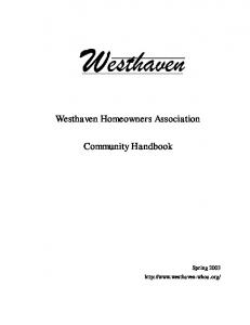 Westhaven Homeowners Association. Community Handbook. Spring 2003