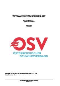 WETTKAMPFBESTIMMUNGEN DES OSV WASSERBALL (WBW)