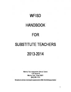 WFISD HANDBOOK FOR SUBSTITUTE TEACHERS