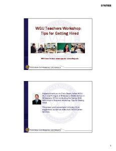 WGU Teachers Workshop: Tips for Getting Hired