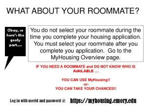 WHAT ABOUT YOUR ROOMMATE?