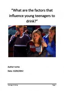 What are the factors that influence young teenagers to drink?