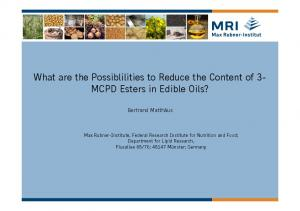 What are the Possiblilities to Reduce the Content of 3- MCPD Esters in Edible Oils?