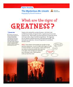 What are the signs of GREATNESS?
