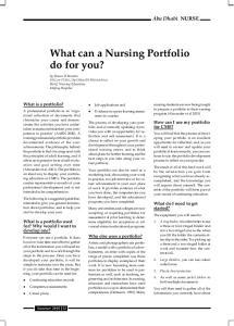 What can a Nursing Portfolio do for you?