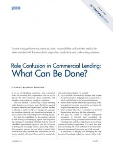 What Can Be Done? Role Confusion in Commercial Lending: