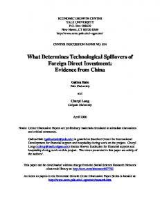 What Determines Technological Spillovers of Foreign Direct Investment: Evidence from China