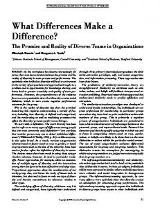 What Differences Make a Difference?