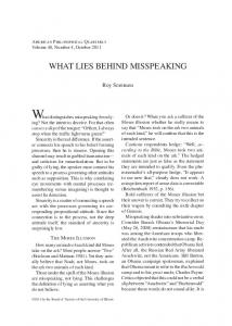 What distinguishes misspeaking from lying?