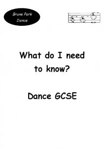 What do I need to know? Dance GCSE
