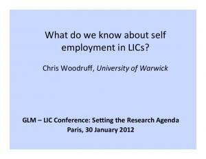 What do we know about self employment in LICs?