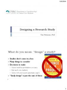 What do you mean- design a study?