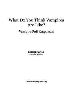 What Do You Think Vampires Are Like?