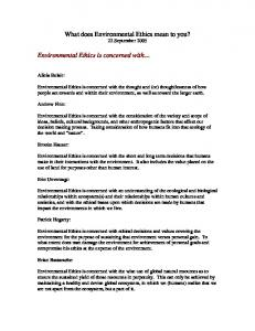What does Environmental Ethics mean to you? 22 September 2005