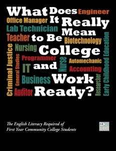 What Does It Really Mean to Be College and Work Ready?