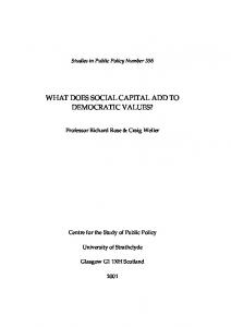 WHAT DOES SOCIAL CAPITAL ADD TO DEMOCRATIC VALUES?