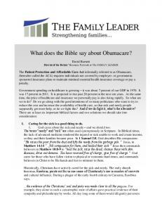 What does the Bible say about Obamacare?