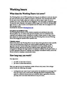 What does the Working Hours Act cover?