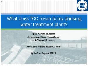 What does TOC mean to my drinking water treatment plant?