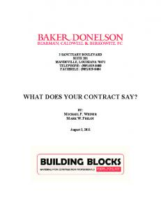 WHAT DOES YOUR CONTRACT SAY?