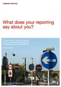What does your reporting say about you?