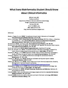 What Every Bioinformatics Student Should Know About Clinical Informatics