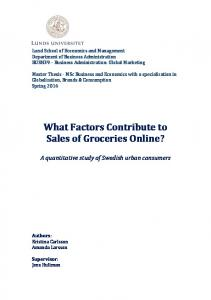 What Factors Contribute to Sales of Groceries Online?