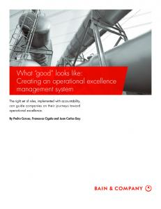 What good looks like: Creating an operational excellence management system