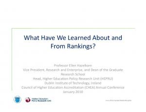 What Have We Learned About and From Rankings?