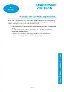 What is a not-for-profit organisation?