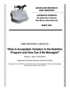What is Acceptable Variation in the Nutrition Program and How Can It Be Managed?