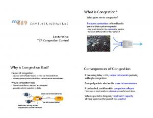 What is Congestion? Why is Congestion Bad? Consequences of Congestion. Computer Networks. Lectures 31: TCP Congestion Control