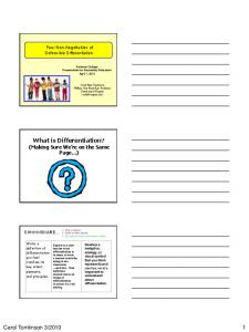 What is Differentiation? (Making Sure We re on the Same