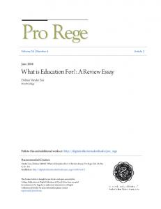 What is Education For?: A Review Essay