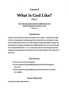 What Is God Like? Part 1