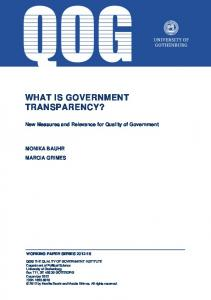 WHAT IS GOVERNMENT TRANSPARENCY?
