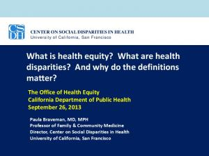 What is health equity? What are health disparities? And why do the definitions matter?