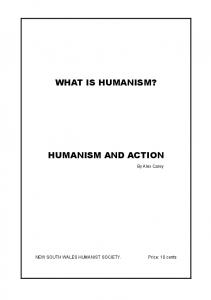 WHAT IS HUMANISM? HUMANISM AND ACTION