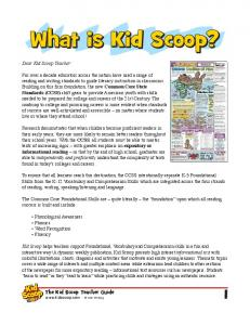 What is Kid Scoop? The Kid Scoop Teacher Guide  Vicki Whiting. Dear Kid Scoop Teacher: